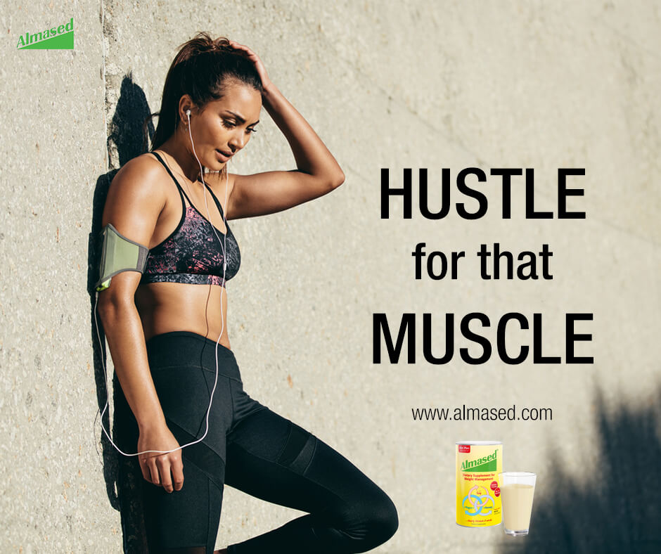 "Picture of a fit girl with motivation quote, ""hustle for that muscle""."