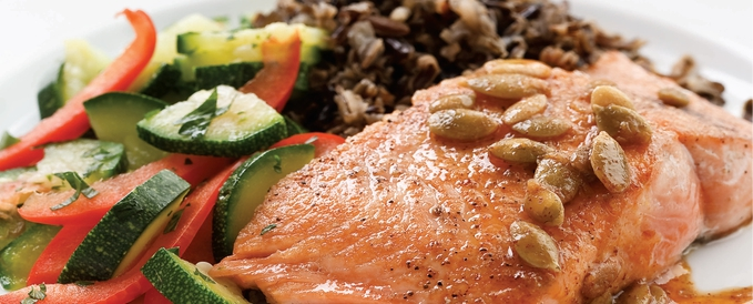 salmon-with-pepita-lime-butter-with-wild-rice-salad-and-sautéed-watercress